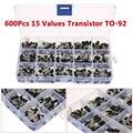 600 Pcs 15 Tipos De Valores Transistor TO-92 NPN PNP Kit Set 40-160 V 50-600mA NPN/PNP frete Grátis