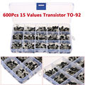 600Pcs 15 Kinds Of Values Transistor TO-92 NPN PNP Kit Set 40-160V 50-600mA NPN / PNP Free Shipping