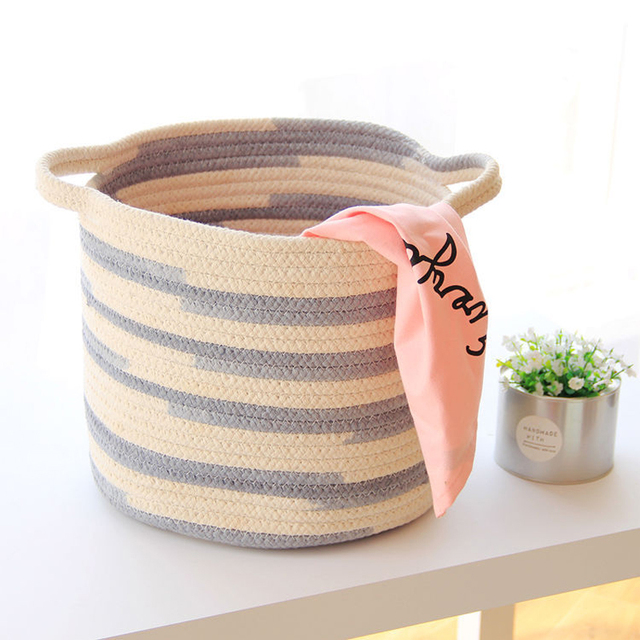 Cute Picnic Basket Cotton Knitting Baby Clothes Laundry Cosmetics Bag Storage For Toys