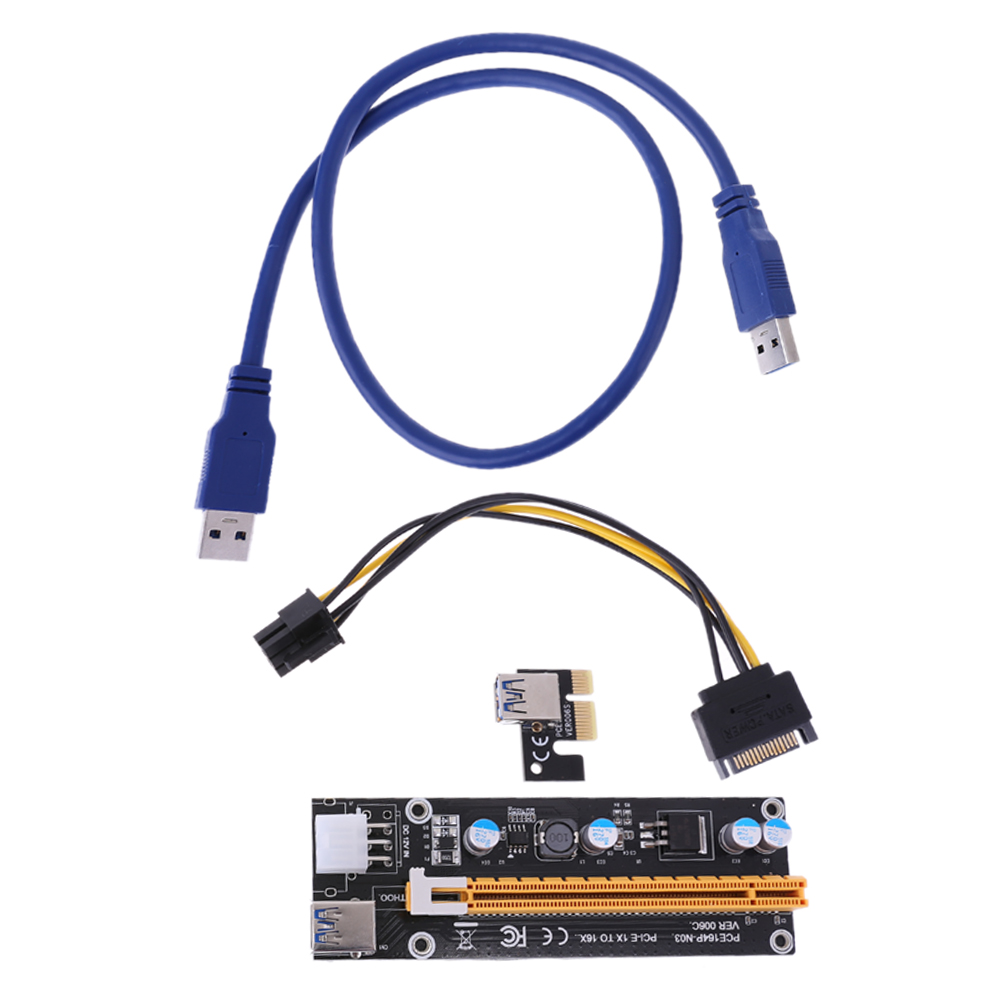 PCI-E Express 1X To 16X Extender Riser Adapter Card 60CM USB Extension Cable 6PIN Strengthen Power Supply riser card For Mining high quality pci e to usb 3 0 4 port express riser expansion card extender adapter for mining high speed extra power connector