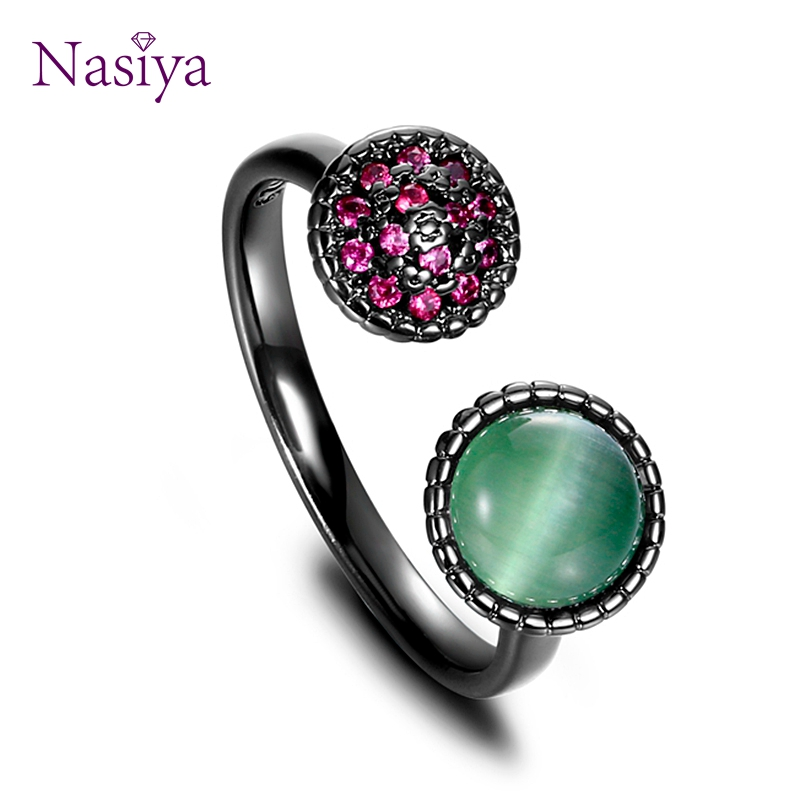 NASIA 925 Sterling Silver Ring For Women Adjustable Opening Finger Rings Black Plated Cat Animal Crystal Green White Eyes Rings