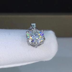 Image 4 - Gümüş 925 takı yuvarlak moissanite kolye 1.00ct D VVS 925 gümüş kolye klasik altı pençe kolye kadınlar için