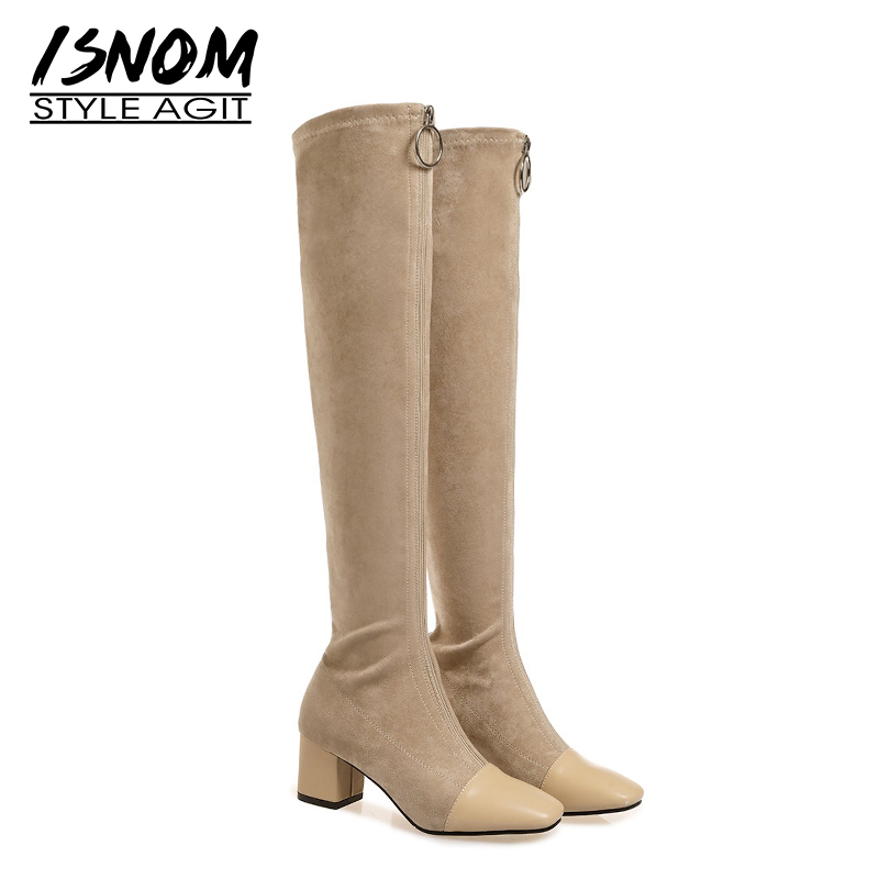 ISNOM Over The Knee Women Boots Square Toe Zip Footwear Cow Leather Female Boot High Heels Stretch Shoes Woman 2019 New SpringISNOM Over The Knee Women Boots Square Toe Zip Footwear Cow Leather Female Boot High Heels Stretch Shoes Woman 2019 New Spring