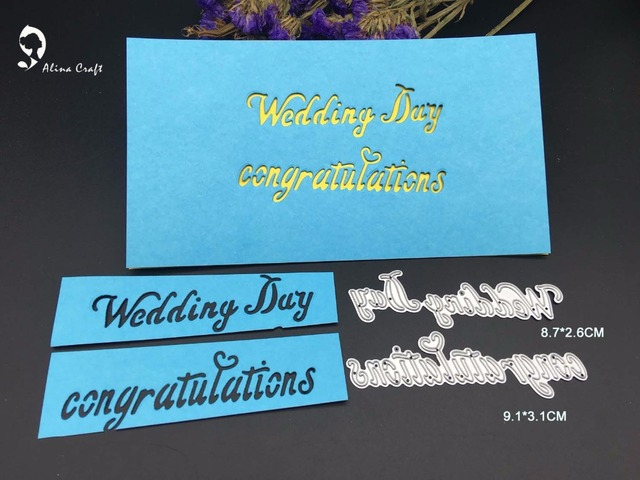 Metal Cutting Dies Greeting Letters Wedding Day Congratulations
