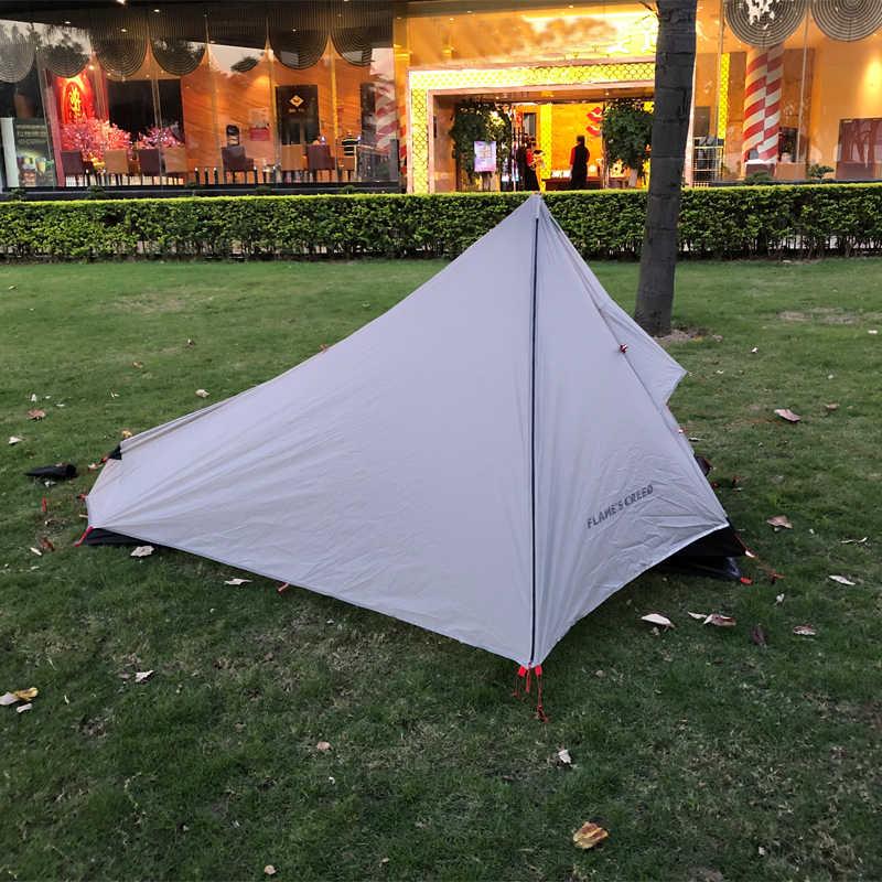 FLAME'S CREED Açık Ultralight Kamp Çadırı 1 Kişi Profesyonel 15D/20D Naylon Silikon Rodless Çadır Hafif Kamp Dişli