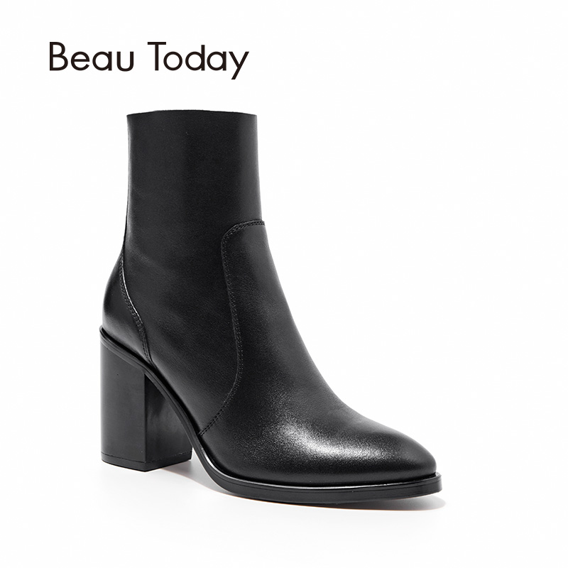 BeauToday Martin Boots Women Top Quality Brand Pointed Toe High Heel Boot Genuine Leather Zipper Handmade Lady Shoes 03305 new 2017 spring summer women shoes pointed toe high quality brand fashion womens flats ladies plus size 41 sweet flock t179