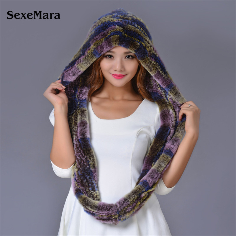 Mink Fur Hats And Scarves For Women 2016 Winter Fur Caps With Scarf Female Knit Natural Mink Fur Scarves Wraps For Girls 03-P24-