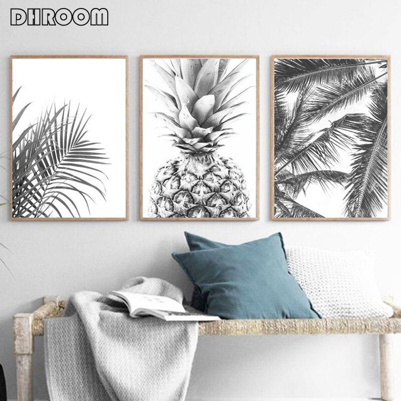 Nordic Minimalismus Tropical Drucke Palm Baum Blätter Wand Kunst Ananas Poster Schwarz Weiß Leinwand Malerei Bild für Wohnzimmer