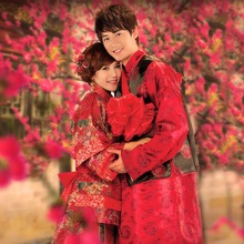 Chinese style wedding bride and groom costume suits embroidered toast Couple Garment