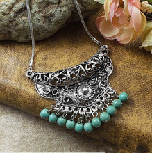 new Tibetan jewelry fashion classic folk style women's Necklace Turquoise Turquoise wholesale Bohemia items faux turquoise cow engraved jewelry set