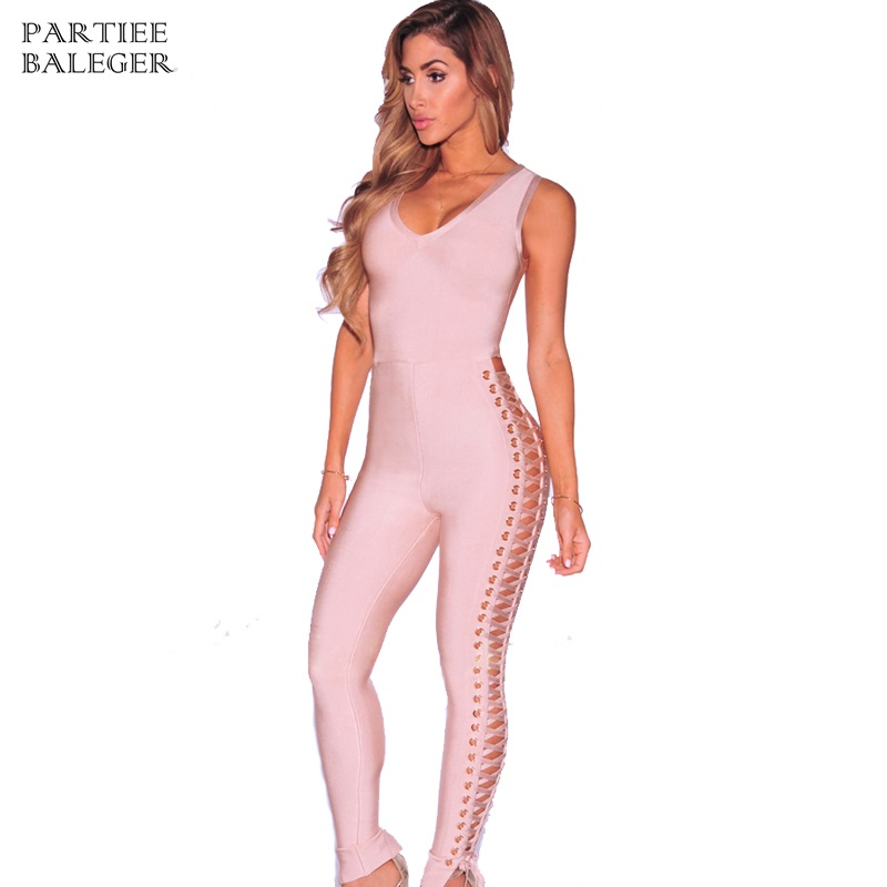 Liberal 2019 New Hottest Summer Hollow Out Capris Knitted Skinny Party Deep V Neck Bodycon Elegant Rompers Women Bandage Jumpsuit Jumpsuits