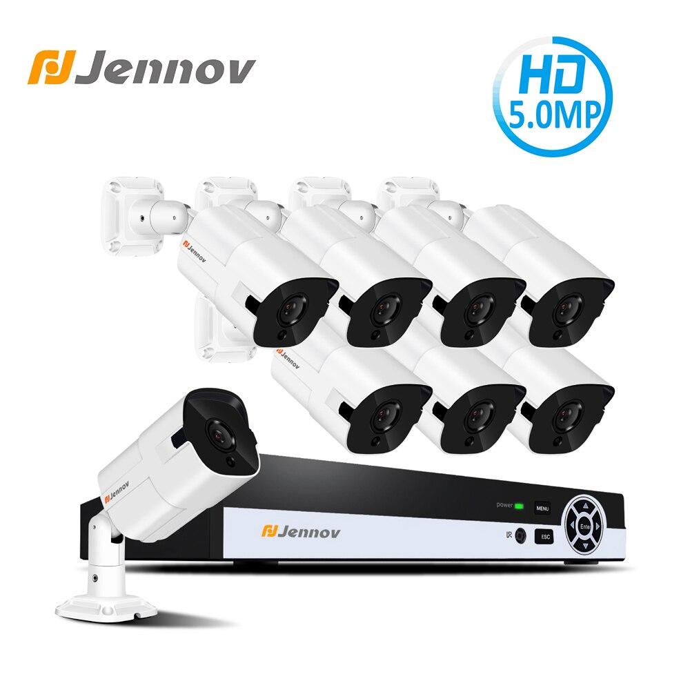 цена Jennov 5MP HDMI NVR Kit Video Surveillance POE Security Camera System CCTV Set P2P Wired Night Vision Remote View APP Danala