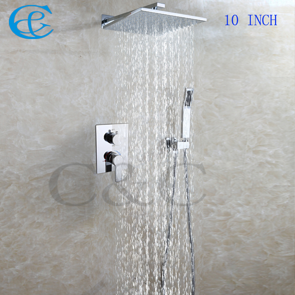 10 Inch Square Rain Shower Heads Embedded Box Faucet Valve Chrome ...