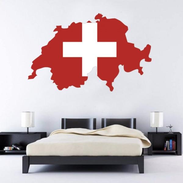 Vlajka Mapa Švýcarska Wall Vinyl Sticker Custom Home Decoration Wall Sticker Svatební tapety Módní design dekorace PVC