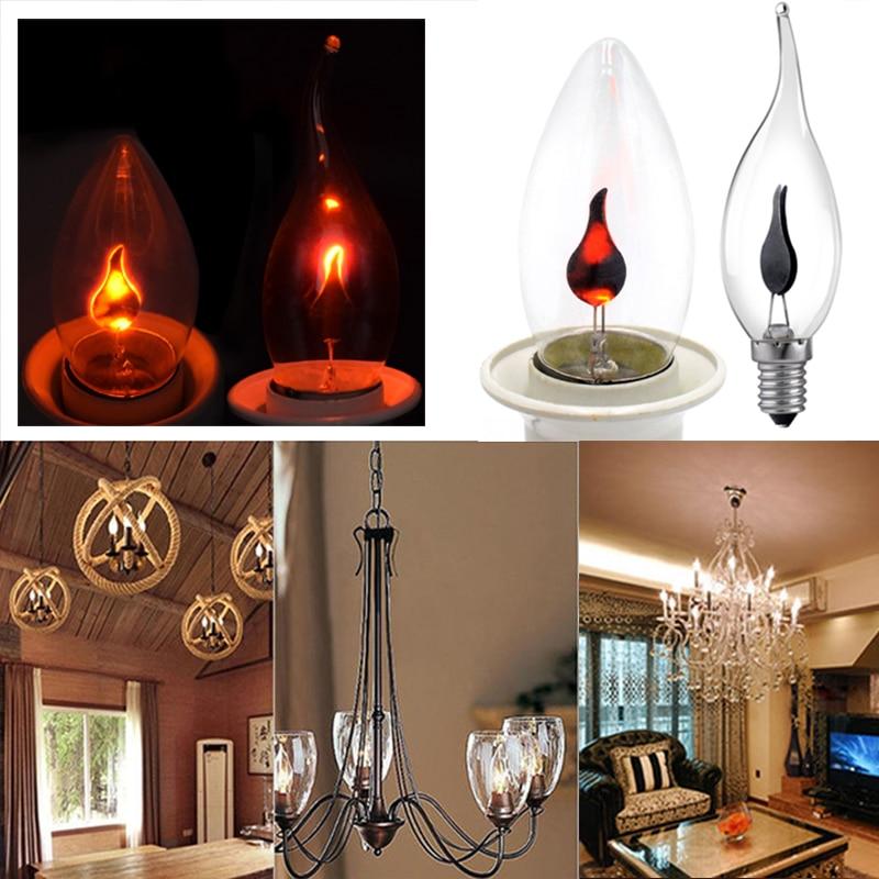 Peradix LED Edison Light Bulb Flame Effect Lamp E27 E14 AC220-240V Living Room Christmas Decoration Gravity Sensor