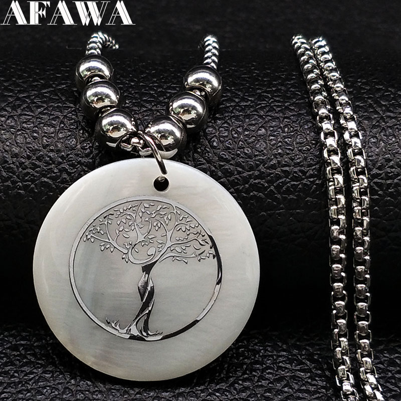 2018 Fashion Tree Of Life Stainless Steel Sell Necklace Women Silver Color Long Necklaces & Pendants Jewelry Collane N18446