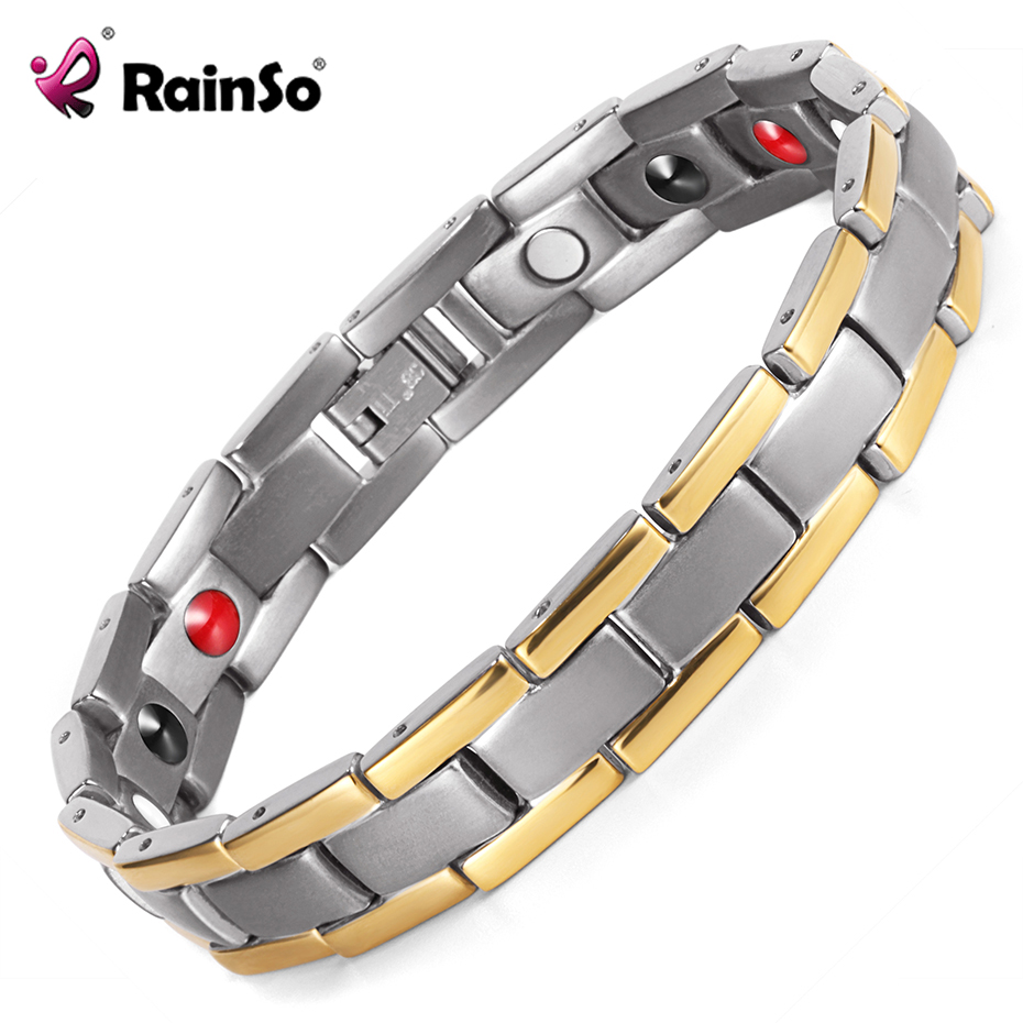 RainSo Unisex Bracelet Charms Jewelry Bangle for Women Men Germanium Magnetic Therapy Healthy Bio Energy Wristband for Arthritis rainso vintage copper magnetic bracelet for men women 2 row magnet healthy healing therapy bio energy bangles fashion jewelry