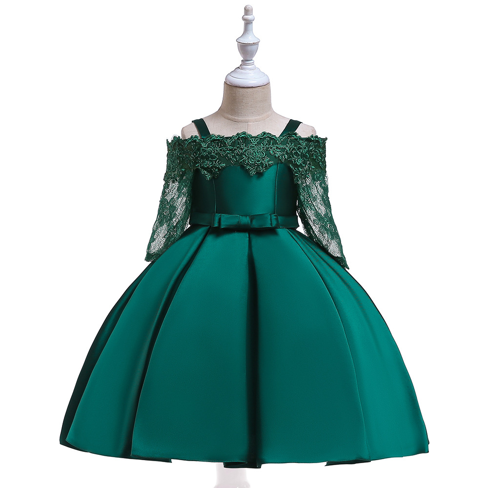 A-Line Long Sleeves Satin   Flower     Girl     Dresses   For Wedding Green First Communion   dresses   Party Gowns