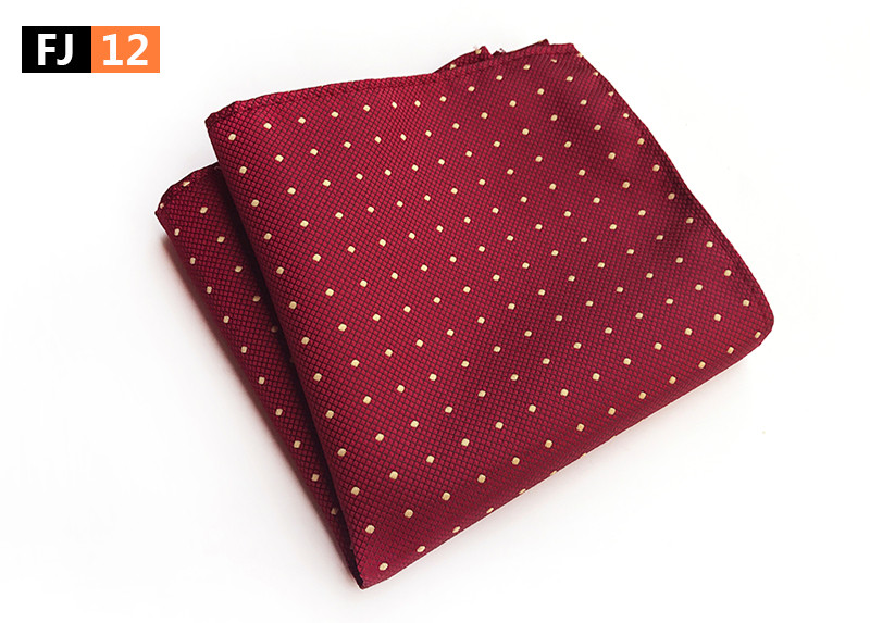 25x25cm Big Size Men Pocket Square Burgundy Red With Yellow Dots