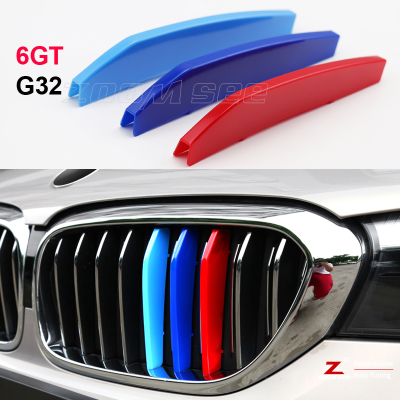 9 Grilles For BMW 3 Series GT 3GT F34 328i 320i 335i xDrive 2013-2016 3D Car Styling M Front Grille Insert Trim Motorsport Grill Stripes Cover M Performance Sticker 3 Colors For BMW M Accessories