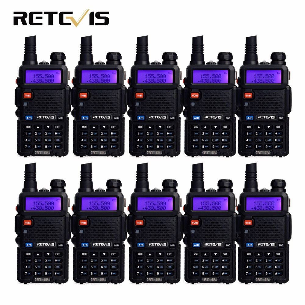 10 pcs Talkie Walkie Retevis RT-5R 5 W 128CH Dual Band UHF + VHF Ham Radio Hf Émetteur-Récepteur Radio Comunicador A7105A