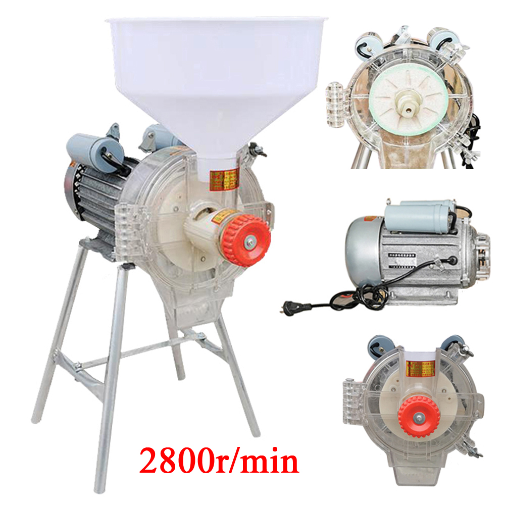 2200W Electric Mill Grinder Heavy Duty Commercial Electric Feed Mill Dry Grinder 110V Cereals Corn Grain Coffee Wheat Feed Machine with Funnel 1400r min