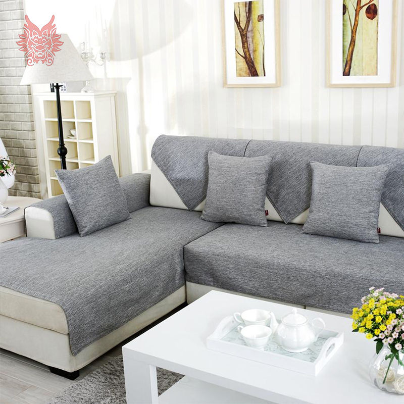 American modern style grey melange Sofa cover cotton/linen slipcovers for sectional sofa four seasons : covering a sectional couch - Sectionals, Sofas & Couches