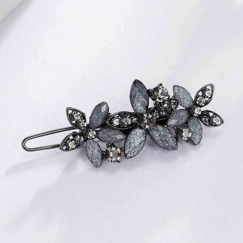 CHIMERA Trendy Rhinestone Hair Clips Sparkly Flower Barrettes Retro Metal Side Hairpin Bangs Clips Women Gray Crystal Hairgrip