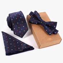 Комплект галстуков темно-синий галстук красный желтый синий белый горошек галстук-бабочка и носовой платок Набор