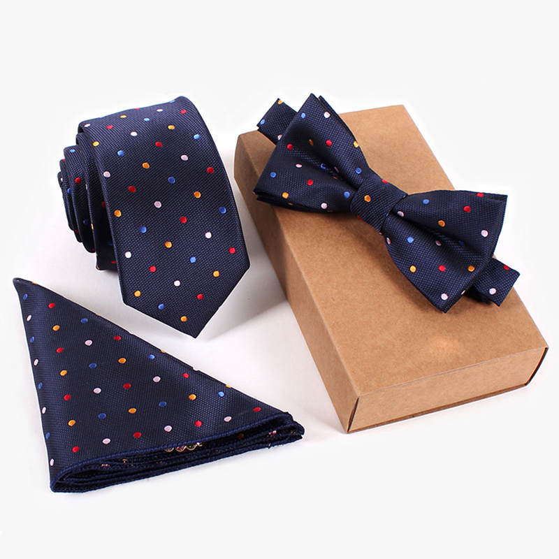 Set Ties Navy Tie Red Yellow Blue White Dot Bow Tie And Handkerchief Set Lot