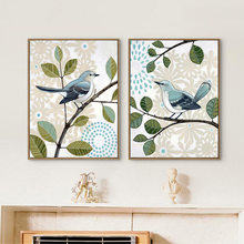 Милые птицы на дереве haochu в американском стиле мультяшный