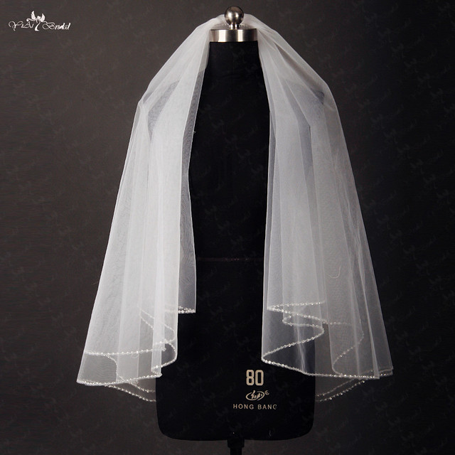 RSV38 Short Wedding Veil Comb With Sequined Edge