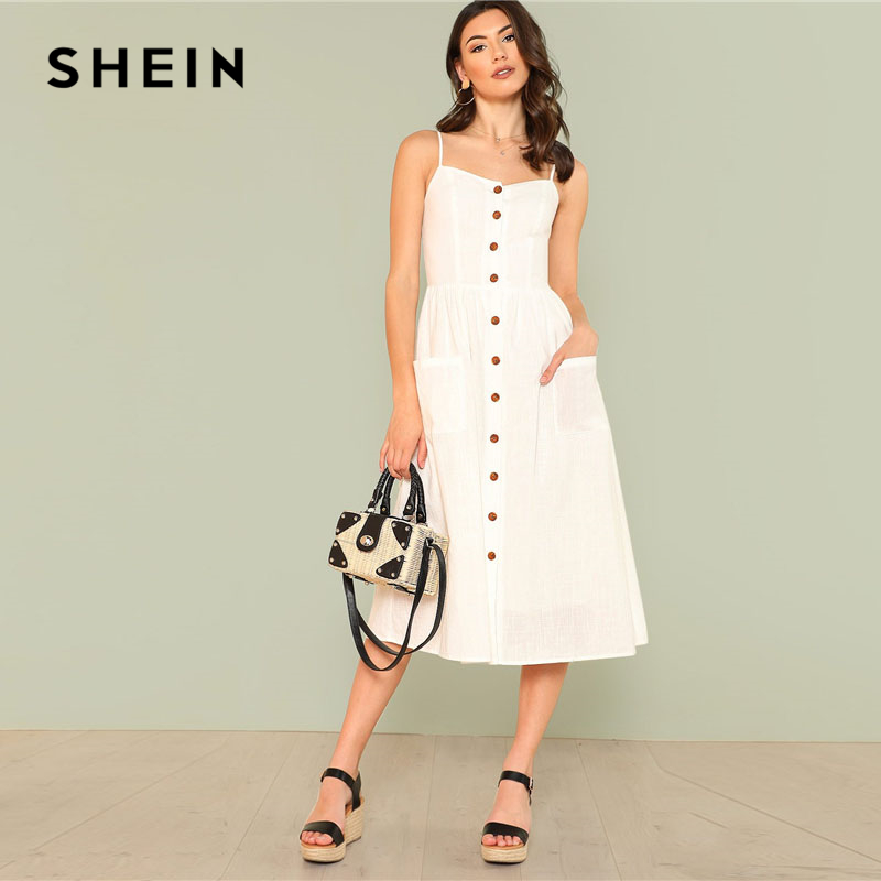 cd348b2acd SHEIN White Pocket Patched Button Up Cami Dress Women Spaghetti Strap  Sleeveless Plain Dress 2018 Summer Beach Boho Dress-in Dresses from Women's  Clothing ...