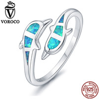 VOROCO Double Dolphin Blue Opal Open Cuff Adjustable Ring For Women Real 925 Sterling Silver Rings