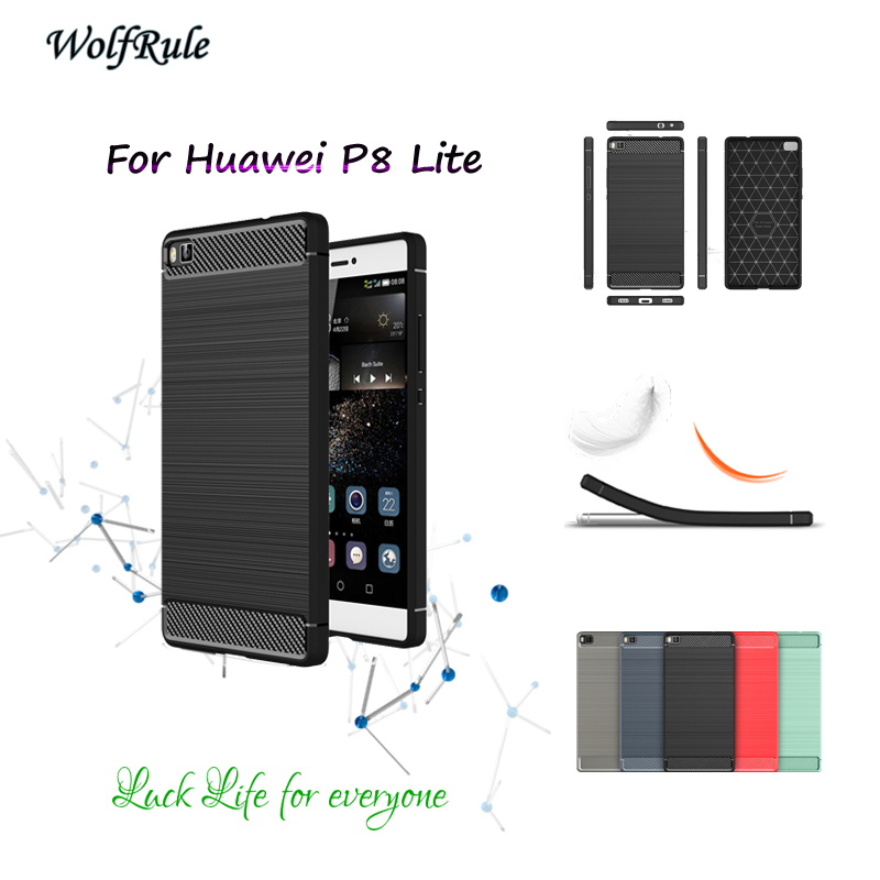 WolfRule Para El Caso de Huawei P8 Lite Cubierta antidetonante TPU Cepillado Neg