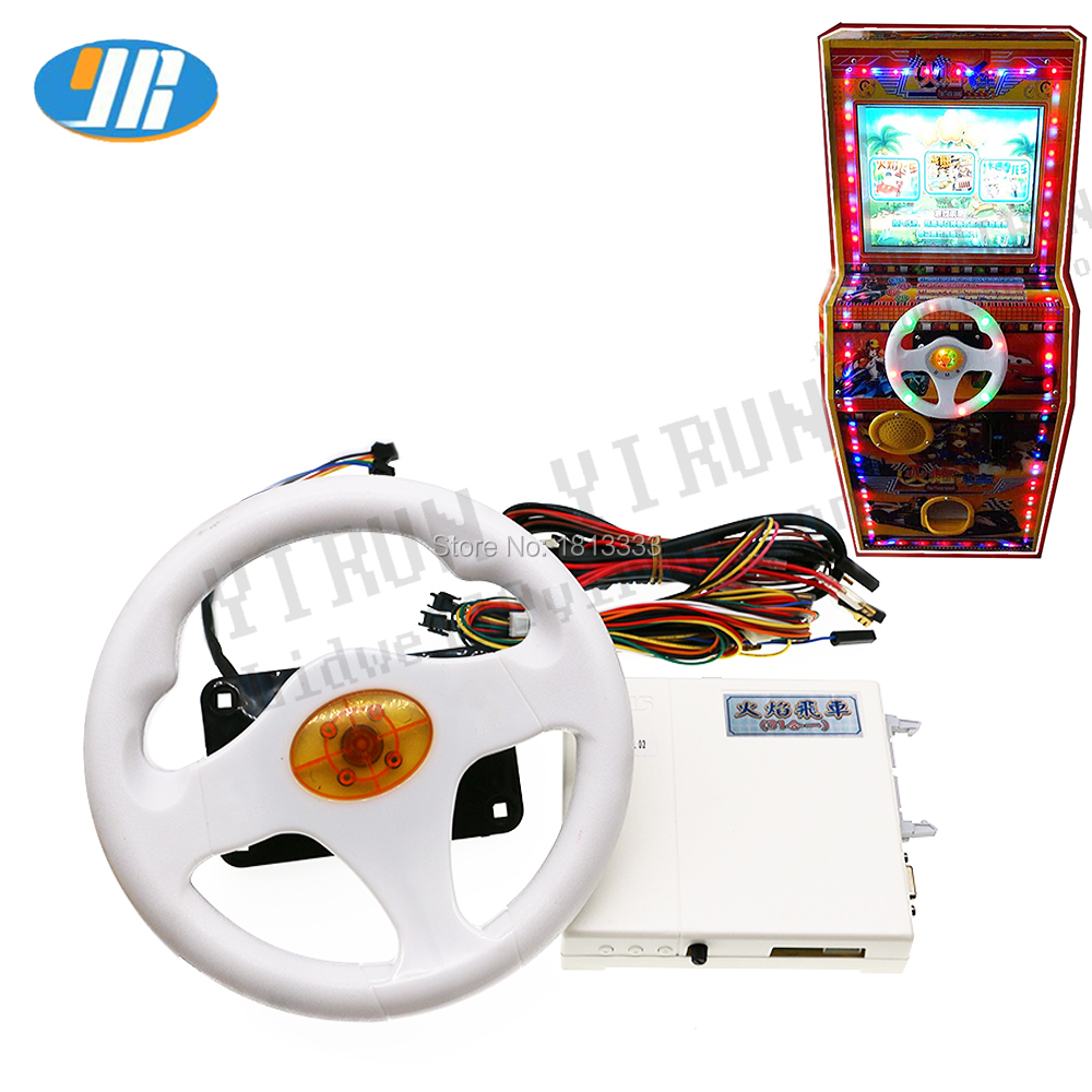Multi games racing car game board with colorful led steering wheel Wire harness for Children s