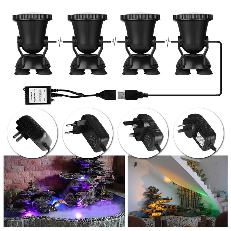 4pcs Remote Control RGB 36 LED Underwater Spot Light Highly Waterproofing IP68 Tank and Aquarium Landscape