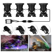 4pcs Remote Control RGB 36 LED Highly Waterproofing IP68 Tank and Aquarium Landscape Lights Underwater Spot Light EU / US Plug