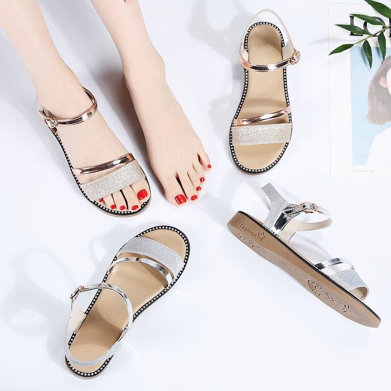 Image 5 - STQ 2020 Summer Women Sandals Black Gold Flat Sandals Women Rubber Beach Flip Flops Ladies Flat Heel Gladiator Sandals YY366Low Heels   -