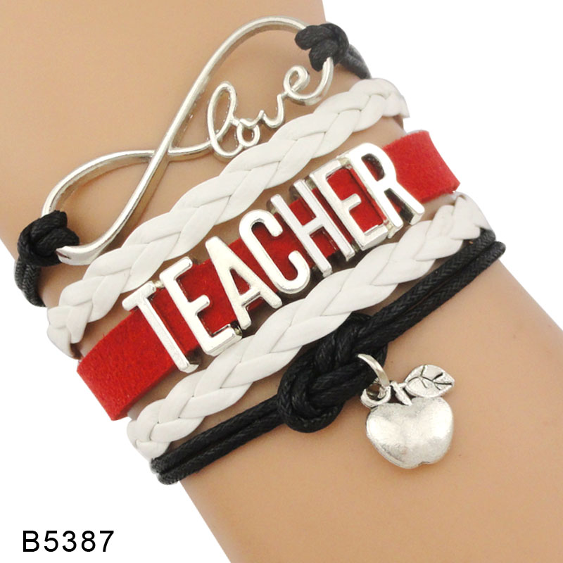High Quality Infinity Love to Teach Gift for Teachers Apple Charm Leather Bracelets for Women