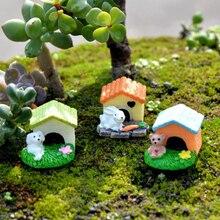 Милая собака кролик домик питомник Doghouse Doghole модель статуя статуэтки ручной работы орнамент миниатюрные украшения для дома и сада