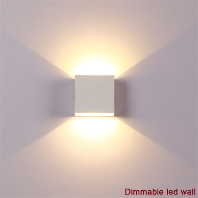 Hkosm 6w Square Dimmable Led Wall Lamp Lampada Aluminium Light Bedroom Modern Cob Lamps With Driver