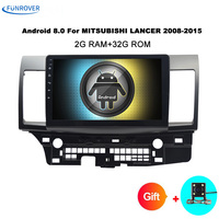 Funrover Android 2 DIN Car DVD GPS For MITSUBISHI LANCER 2007 2016 Headunit Video Player Wifi