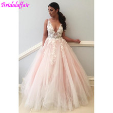 Pink 3D Floral Long Prom Dresses Sexy Deep V-Neck Evening Party Floor Length Open Back Gowns