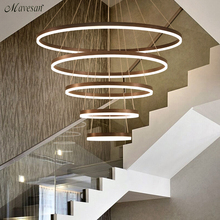 Современный светодиодный подвесной светильник белого/кофейного цвета для гостиной, спальни, комнатных подвесных колец, светодиодный подвесной светильник, светильники