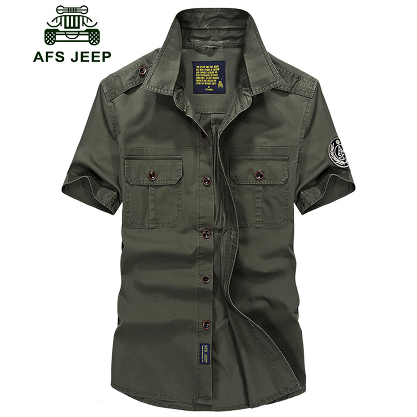 AFS JEEP Shirt Men Casual Summer Short Sleeve Camisa masculina Army Military Men