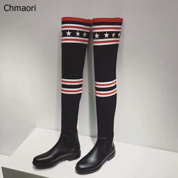 Luxury Brand Socks Boots Women Over The Knee High Boots Autumn Winter Knitted Shoes Long Thigh High Boots Elastic Slim Boots
