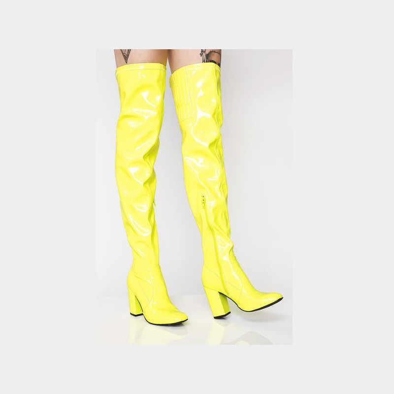 Prova Perfetto Seksi Parlak Rugan Çizmeler parti ayakkabıları Diz Çizmeler Üzerinde Kadın süslü kız elbisesi Yüksek Topuk Kadın Botları