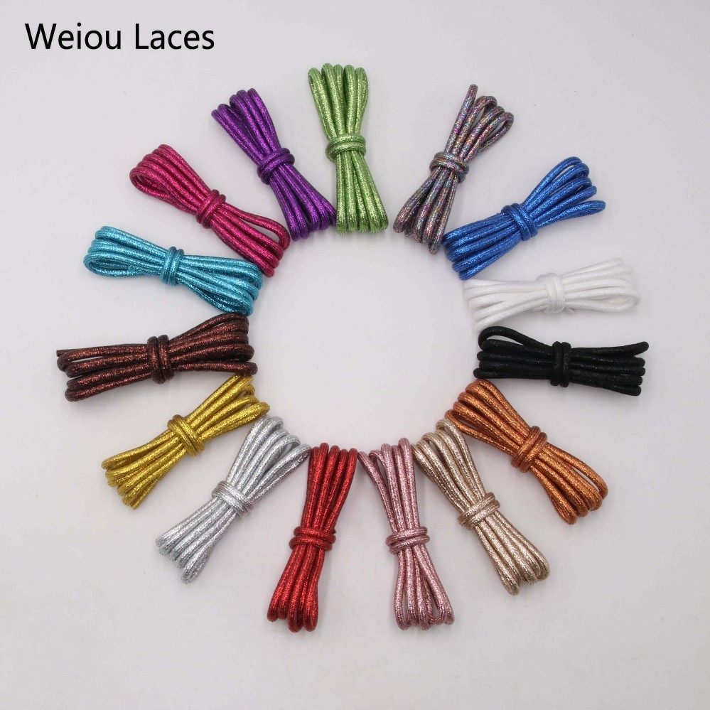 Weiou Stunning Pearly-lustre Rounded Glitter Shoe Laces Golden Colorful Shoelaces White Pearl Shoestring For Sports Canvas Shoes