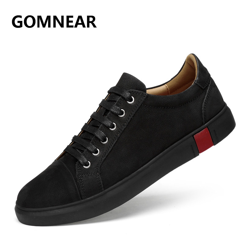 GOMNEAR Men Tourism Sneakers Outdoor Trekking Hiking Shoes Male Breathable Genuine Leather Non Slip Boots Wear resistance Shoe-in Hiking Shoes from Sports & Entertainment    1